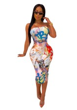 Print Colorful Sexy Tube Dress