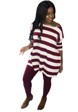 Wide Stripes O Neck Long Shirt