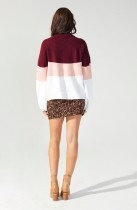 Contrast O Neck Pullover Knitting Top
