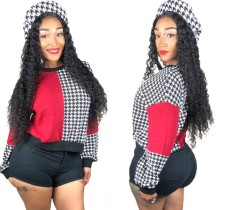 Print Contrast Long Sleeve Crop Top