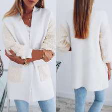 White Patchwork Polar Fleece Long Coat