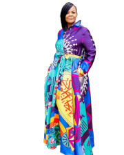 Print Colorful African Maxi Dress with Belt