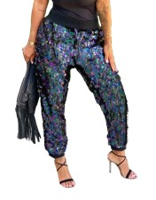 Sequins Drawstrings Club Trousers