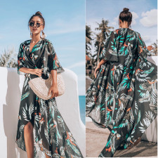 Print Irregular Long Beach Dress