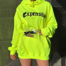 Print Neon Long Hoody with Front Pocket