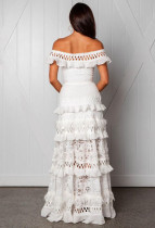 White Lace Off Shoulder Ruffles Weddiing Dress
