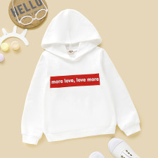 Kids Unisex Print White Hoody Top