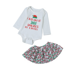 Baby Girl Print Christmas Skirt Set