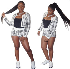 White and Black Plaid Two Piece Shorts Set