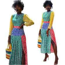African Colorful Long Sleeve Slit Maxi Dress