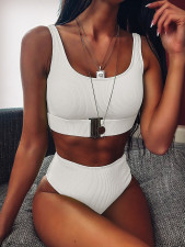 Plain Color High Waist Swimwear