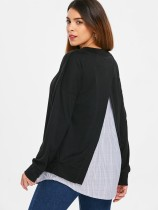 Black Patchwork Long Sleeve Shirt