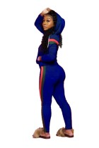 African Tight Stripes Long Sleeve Hoody Tracksuit