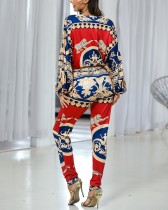 Print Deep-V Long Sleeves Ethnic Jumpsuit