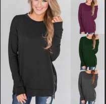 Plain O-Neck Long Sleeves Zipper Shirt