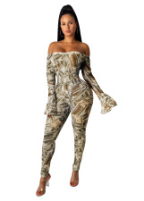 Money Print Off Shoulder Bodycon Jumpsuit