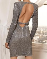 Sequins Deep-V Long Sleeves Table Dress