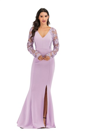 Deep-V Sexy Slit Mermard Evening Dress with Lace Sleeves
