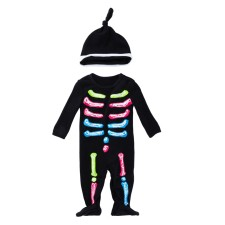Baby Boy Print Halloween Jumpsuit with Hat