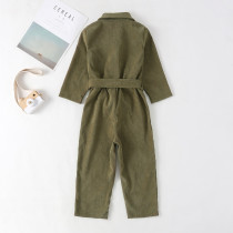 Kids Girl Buttom Up Jumpsuit met lange mouwen en riem