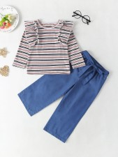 Kids Girl Stripes Shirt et un pantalon uni