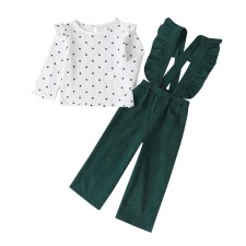 Ensemble de pantalon à bretelles Kids Girl Ruffles