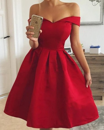 Red Vintage Sweetheart Prom Dress