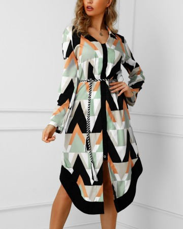 Colorful Geommetric Long Blouse Dress
