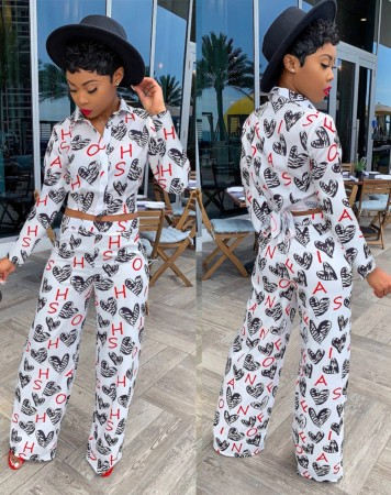 African Heart Print Short Blouse and Pants Set