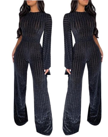 Black Stripes Evening Jumpsuit with Single Sleeve