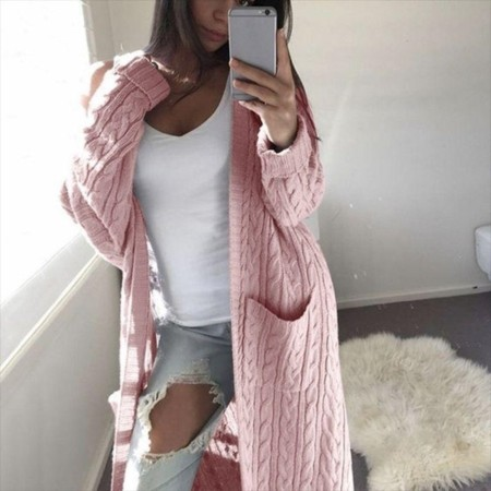 Pink Long Sweater Coat with Pockets