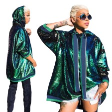 Sequins Green Loose Hoody Coat