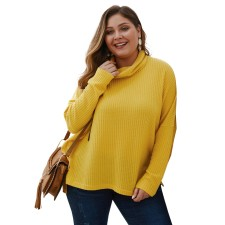 Plus Size Solid High Neck Shirt