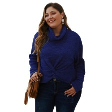 Plus Size Solid High Neck Knitting Cross Top
