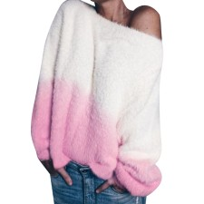 Top pullover in peluche con collo a contrasto