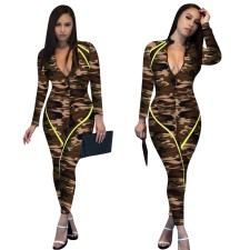 Camou Print Long Sleeves Bodycon Jumpsuit