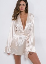 Sexy Long Sleeves Satin Pajamas
