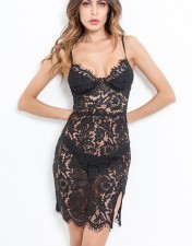 Black Lace Straps Bedroom Dress