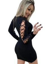 Sexy Lace Up Long Sleeves Knitted Mini Dress