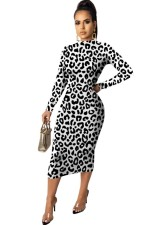 Sexy Leopard Long Sleeves Midi Dress