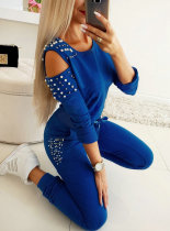 Long Sleeves Cut Out Beaded Top and Pants Set