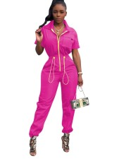Hot Pink Short Sleeves Drawstrings Zipper Jumpsuit