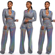 Sequins Long Sleeves Crop Top and Pants Set