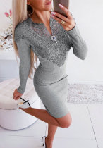 Lace Patchwork Long Sleeves Knitted Mini Dress