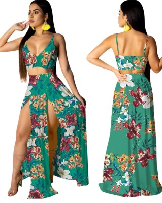 Floral Straps Crop Top and Slit Maxi Skirt