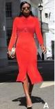 Solid Color Long Sleeve Slit Elegant Shirt Dress