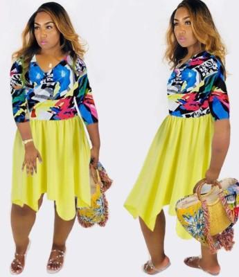 Print Upper Irregular A-Line Dress