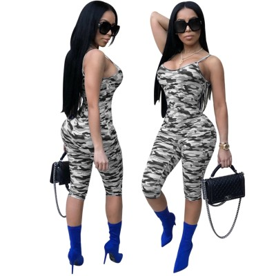 Camou Print Straps Bodycon Rompers