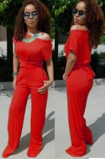 Solid Color Casual Short Sleeve Jumpsuit