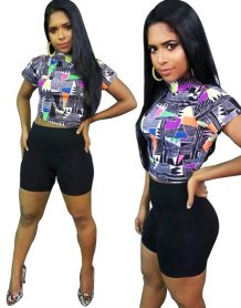 Print Colorful Crop Top and Black Shorts